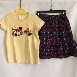 Hanna Andersson Blomma Top & Floral Skirt Set 6-7